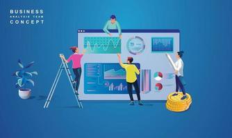 Konzept der Datenanalyse für Website und mobile Website. Datenanalyse für Unternehmensmarketinglösungen oder finanzielle Leistung. Budgetbuchhaltung oder Statistikkonzept. flache Designillustration vektor