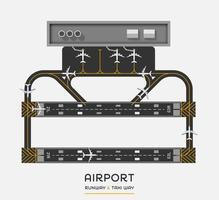 Draufsicht der Landebahn des Flughafens und des Taxiweges mit Flugzeug, Vektorillustration vektor