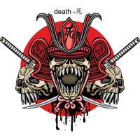 Samurai-Schädel-Zeichen vektor