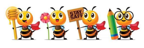 Cartoon süße Biene mit Honiglöffel, Blume, Holzschild und Bleistift-Charakter-Maskottchen-Set vektor