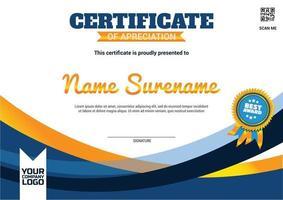 gradient elegant certifikat bästa utmärkelsen mall blå guldmedalj vektor