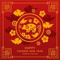 Chinesischer guten Rutsch ins Neue Jahr-Vektor 2019