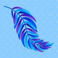 flache farbige abstrakte Silhouette eines Blattes auf blauem Hintergrund vektor