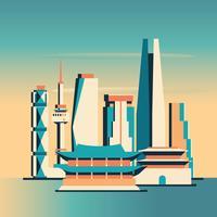 Seoul City Bakgrund Skyline Sydkorea Visa Med Skyskrapor Och Berömda Landmärken