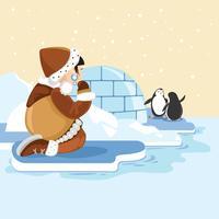 Söt Eskimo Tjej Med Arktiskt Djur