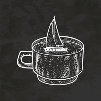 Segelyacht in einer Tasse handgezeichneten Retro-Stil Skizze Vintage Illustration Vektor