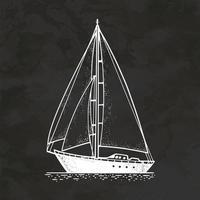 Segelyacht Boot handgezeichnete Retro-Stil Skizze Vintage Illustration Vektor