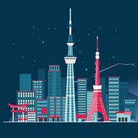 Tokyo-Stadt-Skyline-ausführliches Schattenbild und Fuji-Gebirgshintergrund