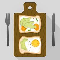 Flat Avocado Toast För Frukost Vector Illustration