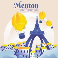 Berühmtes Zitronenfestival Fete du Citron in Menton Frankreich vektor