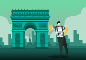 Historisk Paris byggnad Vector platt bakgrund Illustration