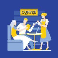Junge Paare in einer Kaffeestube unter Verwendung des Touch Screen Gadgets und des Laptops vektor