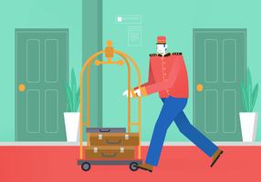 Bellboy, der Laufkatze in der Hotel-Aufenthaltsraum-Vektor-Illustration drückt vektor