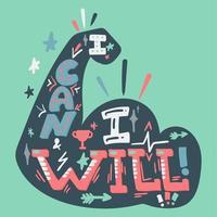 Zitat handgezeichnete stilisierte Schrift. sportliche Motivation. Bizeps-Abbildung. inspirierendes Poster vektor