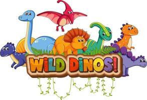 süße Dinosaurier-Cartoon-Figur mit wildem Dino-Schriftbanner vektor