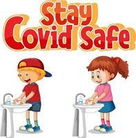 Bleiben Sie covid-sichere Schriftart im Cartoon-Stil mit Kindern, die ihre Hände am Wasserbecken waschen, isoliert auf weißem Hintergrund vektor