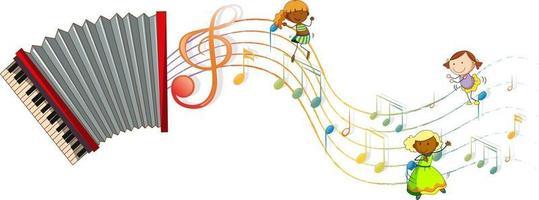 Akkordeonmusikinstrument mit Kindern und Melodiesymbolen vektor