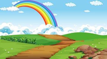 Naturparkszenenhintergrund mit Regenbogen im Himmel vektor