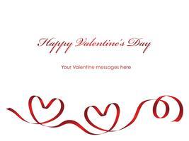 Valentinsgrußkartenschablone mit einem roten Farbband- und Textplatz.