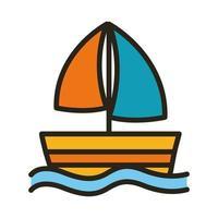 Segelboot Schiffslinie und füllen Stilikone vektor