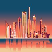 Skyline i Dubai vid skymning och solnedgång