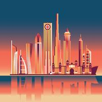 Skyline von Dubai in der Abenddämmerung und im Sonnenuntergang