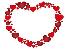 Roter herzförmiger Rahmen mit dem Textraum, der aus kleinen Herzformen besteht.