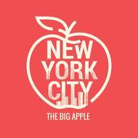 Großer Apfel New York City Symbol mit Skyline-Hintergrund vektor