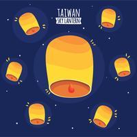 Taiwan-Himmel-Laternen-Hintergrund-Vektor