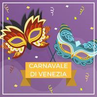 Flache Masken-Vektor-Hintergrund-Illustration Carnevale Di Venezia