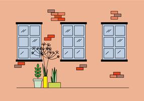 Fenster und Pflanzen flach