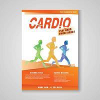 Cardio Workout Flyer Vorlage vektor