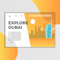 Flache Dubai Burj Al Arab Jumeirah Landing Page-Vektor-Illustration