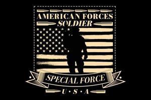 T-Shirt Typografie Spezialeinheit amerikanischer Soldat Flagge Vintage-Stil vektor