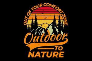 T-Shirt Retro Outdoor Wald Bergkiefer Natur Vintage Style vektor
