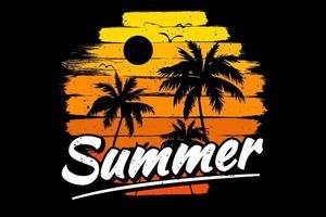 T-Shirt Sommer Sonnenuntergang Himmel Pinsel Farbe Retro-Vintage-Stil vektor