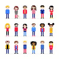 Zufällige Charaktere Pixel Art vektor