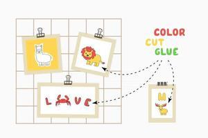 Drucken Sie Farbschnittkleberpapierspiel für die Entwicklung von Kindern. Alphabetkartenteile schneiden, färben, auf das Papier kleben. Vektorillustrationsdarstellung von Liebe, Krabbe, Löwe, Alpaka, Elch auf Moodboard vektor