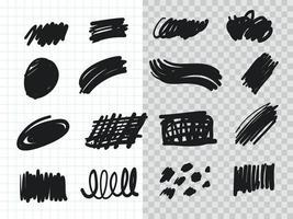 handgezeichnetes Highlighter-Pinsel-Sammlungsset vektor