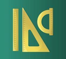 Satz von Dreiecklineal und Winkelmesser, die Länge und Winkel messen, flache Vektorillustration isoliert vektor