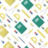 Schulbedarf und Büromaterial auf weißem Hintergrund. zurück zu Schule, Bildung und Geschäftskonzept. Vektor nahtlose Muster für Banner, Poster, Bürobedarf und Tapeten