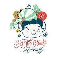 Weihnachtself mit Lebkuchen, Weihnachtskugel und Schriftzug. vektor