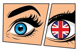 Großbritannien Flagge im Auge, Comic Storyboard, Pop-Art-Stil