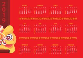 2019 Druckbarer Chinesischer Neujahrskalender vektor