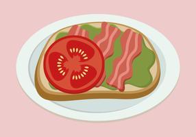 Avocado-Toast mit Speck und Tomaten vektor