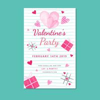 Niedliche Valentinsgruß-Plakat-Schablone mit Blatt und Herzen