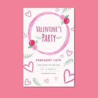 Rosa Valentinstag Flyer Vorlage mit Blättern und Herzen