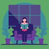 Flicka Sitter I Fåtölj Läsböcker Bookworm Vector Illustration