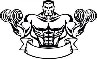motivierendes T-Shirt-Design mit Bodybuilder vektor