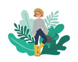 weibliche Figur mit Gießkanne vor Pflanzenblättern vektor